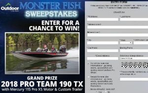 Bass Pro Shops Monster Fish Sweepstakes – Chance to Win a 2018 Pro Team 190 TX