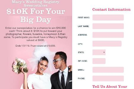 a02fb60654 Macy s Wedding Registry Sweepstakes – Chance to Win  10