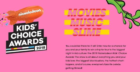 Nickelodeon Kids' Choice Awards Sweepstakes – Chance to Win a Trip Package