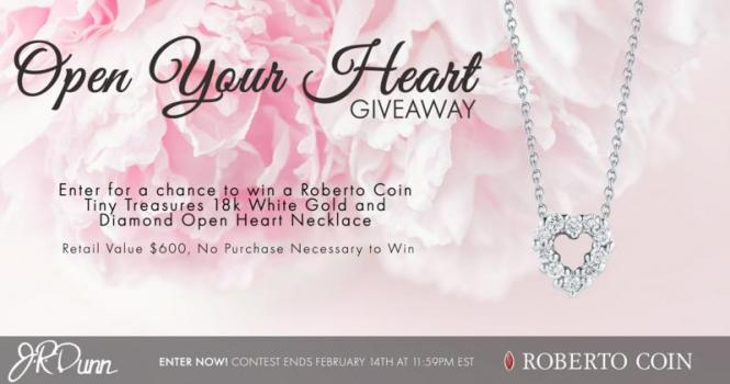 J.R. Dunn Jewelers Open Your Heart Necklace Giveaway – Stand Chance to Win a Roberto Coin Tiny Treasures White Gold and Diamond Open Heart Necklace