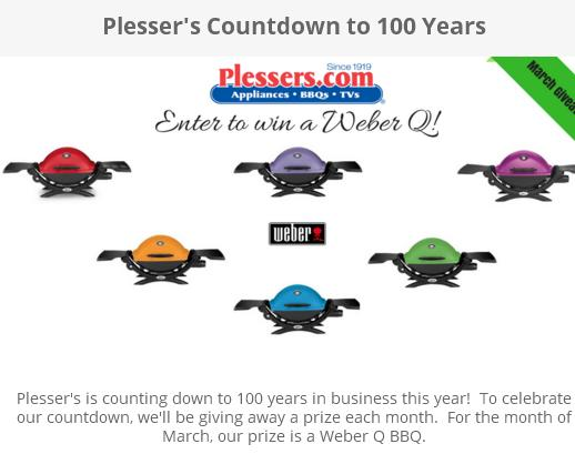 Plesser's Countdown To 100 Years Sweepstakes – Stand Chance to Win a Weber Q BBQ Prize