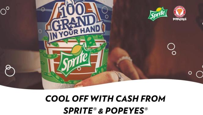 Sprite and Popeyes 100 Grand in Your Hand Sweepstakes – Chance to Win $100,000 Cash or Popeyes Gift Cards