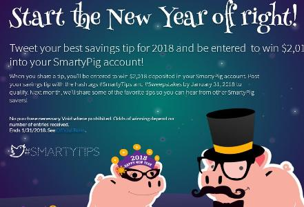 The SmartyPig 2018 New Year's Sweepstakes – Chance to Win $2,018 Dollars into Your SmartyPig Account