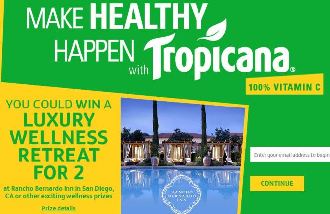 Make Healthy Happen With Tropicana Instant Win Game and Sweepstakes– Chance to Win A Luxury Wellness Retreat For two at Rancho Bernardo inn in San Diego and Other More Prizes