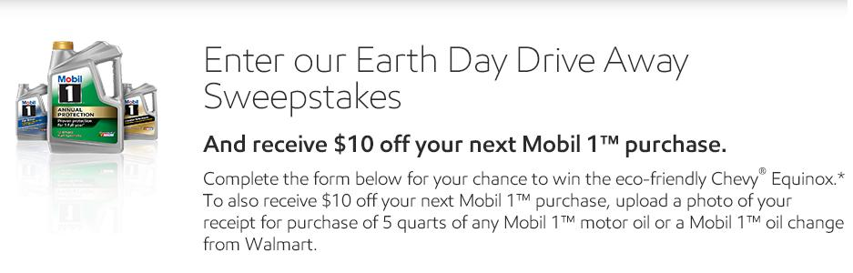 Mobil 1™ Earth Day Drive Away Sweepstakes – Stand Chance to Win a 2018 Chevrolet Equinox Vehicle and $10,000 Cash