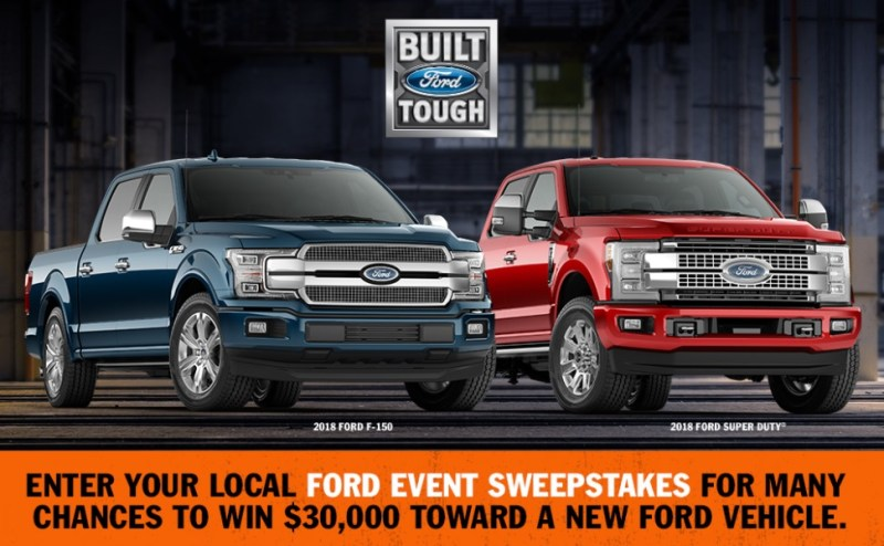 Ford Event Sweepstakes – Enter For Chance To Win $30000 Voucher For Purchase Of One 2018 Ford Vehicle