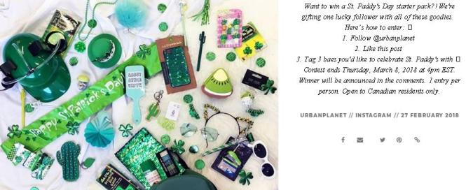 Urban Planet St Paddys Day Contest – Stand Chance to Win a St. Paddy's Day Starter Pack