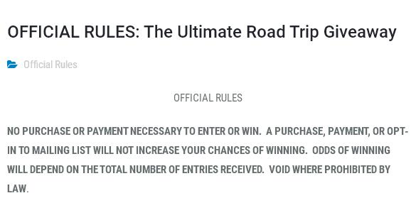 ITW Global Brands Ultimate Road Trip Giveaway Sweepstakes – Stand Chance to Win $2500, $250 Visa Gift Card, Case of 16 Ounce Cans, Cans