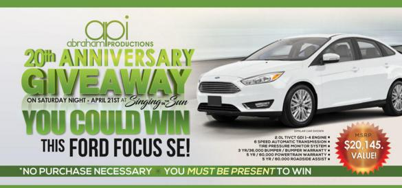 Abraham Productions 20th Anniversary Giveaway – Enter For Chance To Win A Ford Focus SE