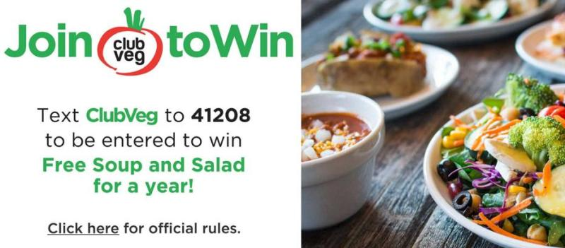 The 2018 Text-to-Join Club Veg Membership Sweepstakes – Stand Chance to Win Meal Passes