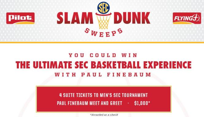 The Slam Dunk Sweepstakes – Stand Chance to Win Trip to attend the 2018 Southeastern Conference Men's Basketball Tournament in St. Louis, Missouri
