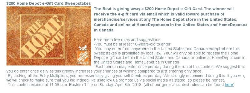 The Beat Sweepstakes - Enter To Have A Chance To Win A $200 Home Depot e-Gift Card
