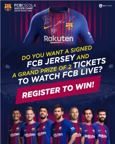 FCBEscola United States Sweepstakes -Chance To Win 2 Tickets To Watch FCB - One Signed FC Barcelona Jersey
