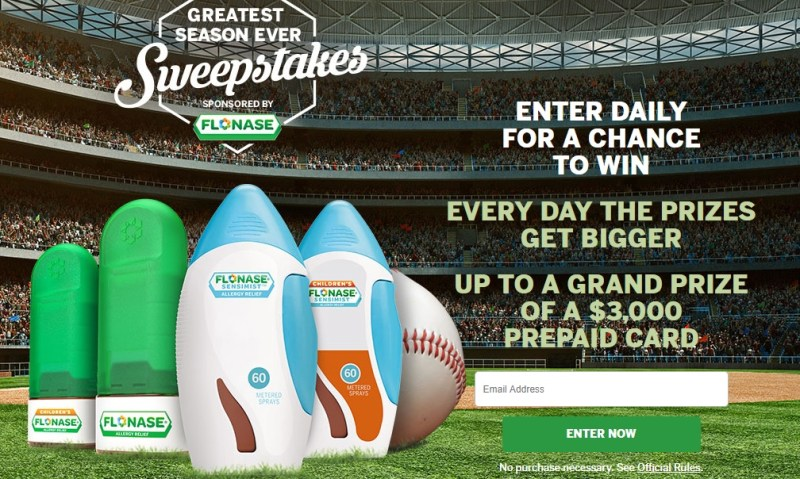Flonase Greatest Season Ever Sweepstakes - Enter To Win a $3,000 Prepaid Gift Card