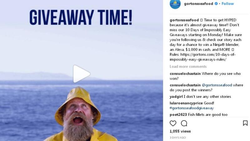 Gorton's 10 Days of Impossibly Easy Instagram Giveaway - Chance To Win WalMart Gift Card, Magic Bullet, Gift Card, Air Fryer Package, Ninja Blender, Amazon.com Gift Card, Fitbit Ionic, $650 Prize Check and $1,000 Cash Prize