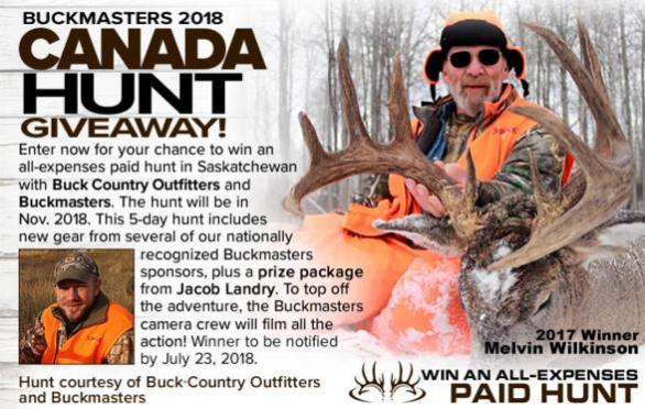 Buckmasters Canada Hunt Giveaway – Stand Chance to Win 5-Day Hunt with Buckmasters and Triple Creek Outfitters of St. John