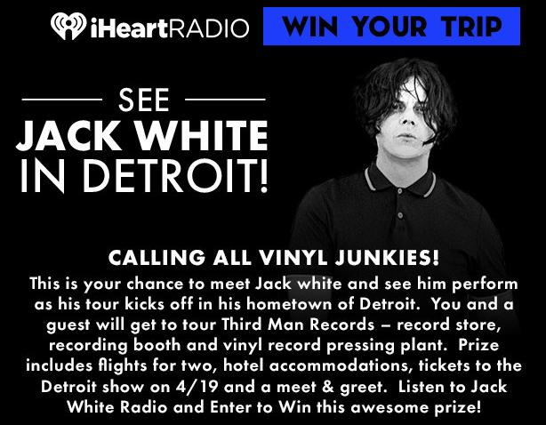 Listen To Jack White Radio Sweepstakes – Stand Chance to Win Trip To Detroit, Michigan Prize
