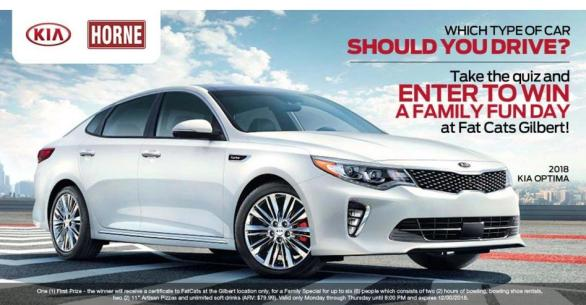 Horne Kia Quiz Sweepstakes – Stand Chance to Win A Certificate To FatCats, Bowling Shoe Rentals, Artisan Pizzas and Unlimited Soft Drinks