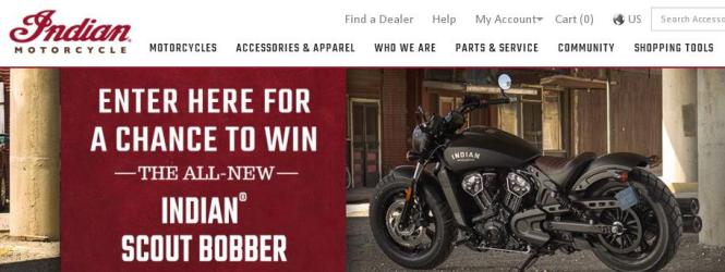 Indian Motorcycle Scout Bobber Sweepstakes - Chance To Win Model year 2018 Indian Scout Bobber