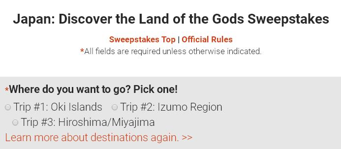 Japan Discover the Land of the Gods Sweepstakes– Stand Chance to Win Round-Trip Air Tickets to Japan