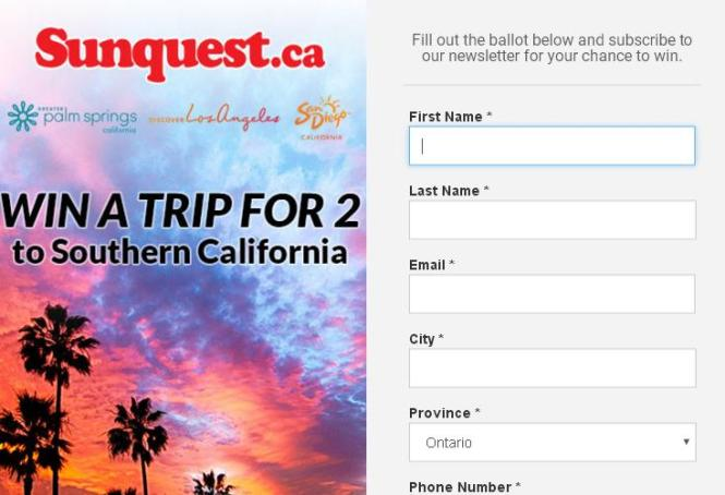 Sunquest Contest- Chance To Win a trip for two to Southern California