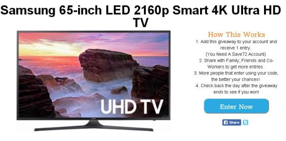 Save72 Giveaway - Enter For Chance To Win Samsung 65 inch LED 2160p Smart 4K Ultra HD TV
