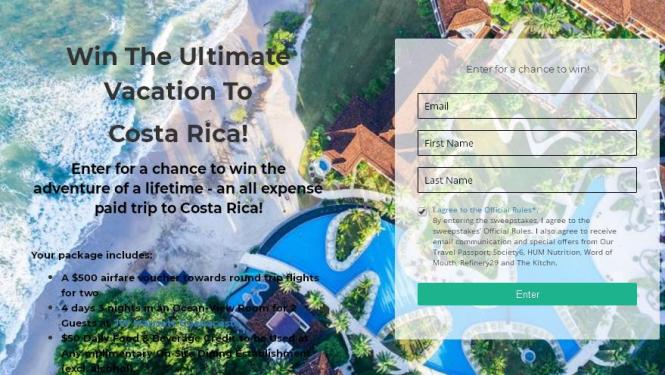 Our Travel Passport Ultimate Vacation to Costa Rica Sweepstakes – Stand Chance to Win $500 Airfare Voucher, $50 Daily Food & Beverage Credit
