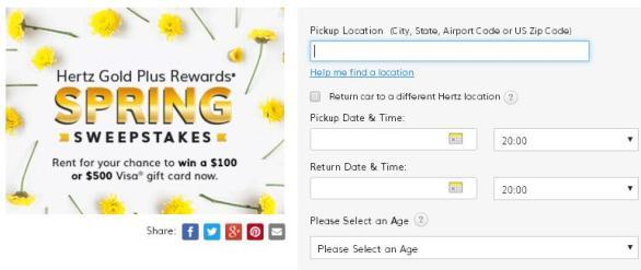 HERTZ Gold Plus Rewards Spring Sweepstakes - Enter To Win A $500 Visa Prepaid Gift Card