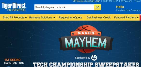 TigerDirect 2018 March Mayhem Sweepstakes-Win a Laptop, Tablet, Monitor and Printer