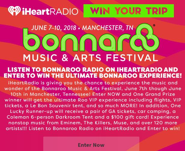 Listen to Bonnaroo Radio on iHeartRadio Sweepstakes – Stand Chance to Win One Pair Of VIP Tickets + Le Bon Comfort TentListen to Bonnaroo Radio on iHeartRadio Sweepstakes – Stand Chance to Win One Pair Of VIP Tickets + Le Bon Comfort Tent