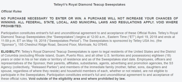 Tetley's Royal Diamond Teacup Sweepstakes-Chance To Win Grand Prize, Ten Prize Packs