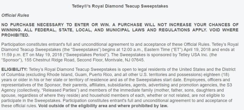 Tetley's Royal Diamond Teacup Sweepstakes-Chance To Win Grand Prize, Ten Prize Packs