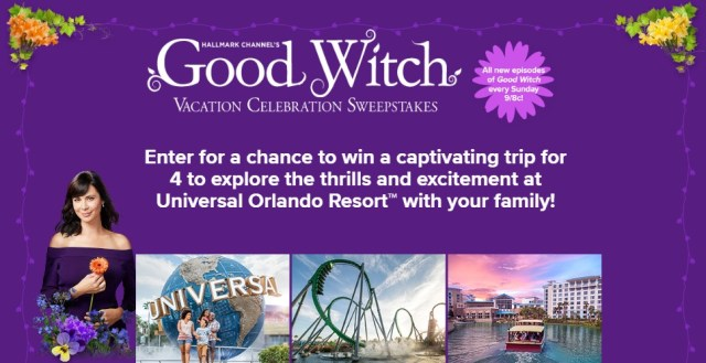 Hallmark Channel Good Witch Vacation Celebration Sweepstakes – Stand Chance to Win A Trip To The Universal Orlando Resort In Orlando, Florida