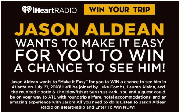 Jason Aldean Wants To Make It Easy For You To Win A Chance To See Him Sweepstakes-Enter To Win Trip To Atlanta, Meet Jason Aldean