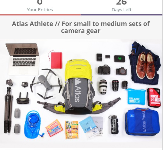 Atlas Athlete Pack Contest-Chance To Win A Series 2 Athlete Pack Includes Canon 5DS with charger and extra battery, Canon 70-300, Canon 17-40, Sony A7rii, Sony 55mm Zeiss, DJI Mavic Pro with 3 batteries