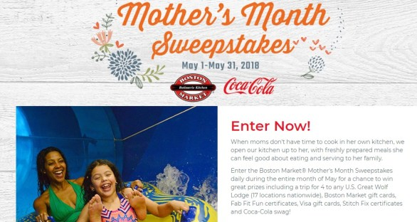Boston Market Mother's Month Sweepstakes - Chance To Win A Family Vacation, $200 Stitch Fix Gift Card, $75 Visa Gift Card