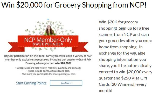 NCP Member-Only Sweepstakes – Stand Chance To Win $20,000 For Grocery Shopping, $250 Visa Gift Cards