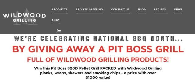 Wildwood Grilling National BBQ Month Giveaway – Stand Chance to Win Pit Boss 820D Pellet Grill, Plank 2-Packs