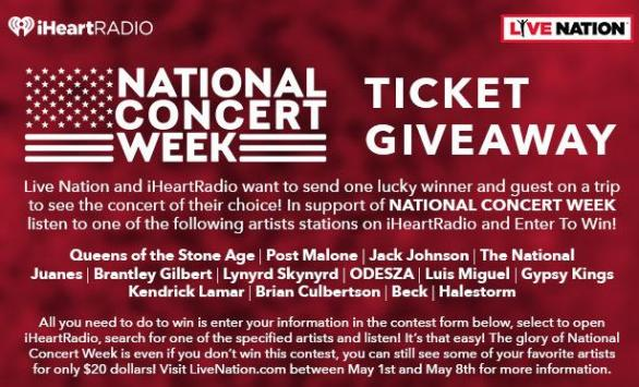 iHeartRadio National Concert Week Sweepstakes – Win Chance To see participating National Concert Week Artist In City