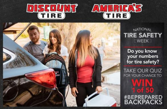 National Tire Safety Week Sweepstakes – Stand Chance to Win 1 Of 50 #BePrepared Backpack