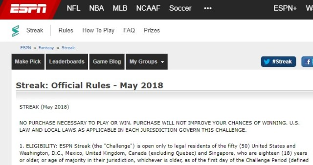 ESPN May 2018 Streak for the Cash Challenge-Chance To Win $35,000 Monthly Prizes