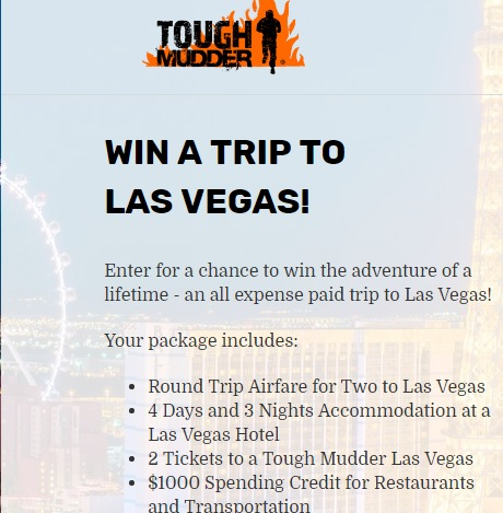 Tough Mudder Sweepstakes - Chance To Win A Trip To Las Vegas