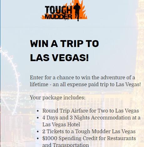 Tough Mudder Sweepstakes - Chance To Win A Trip To Las Vegas