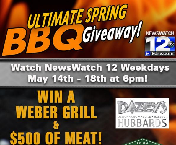 KDRV-TV Ultimate Spring BBQ Giveaway – Stand Chance To Win Weber Grill & $500 of Meat