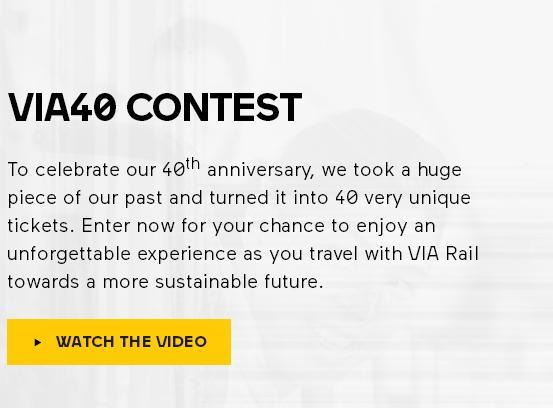 Via Rail 40th Anniversary Contest – Stand Chance to Win Round-Trip Train Fare