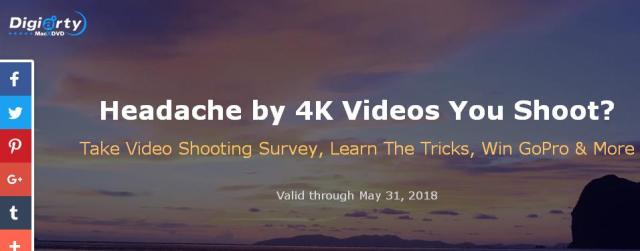 Digiarty Video Shooting Survey Giveaway – Stand Chance To Win GoPro HERO6 Black, Folding Tripod, Portable Charger, MacX Video Converter Pro