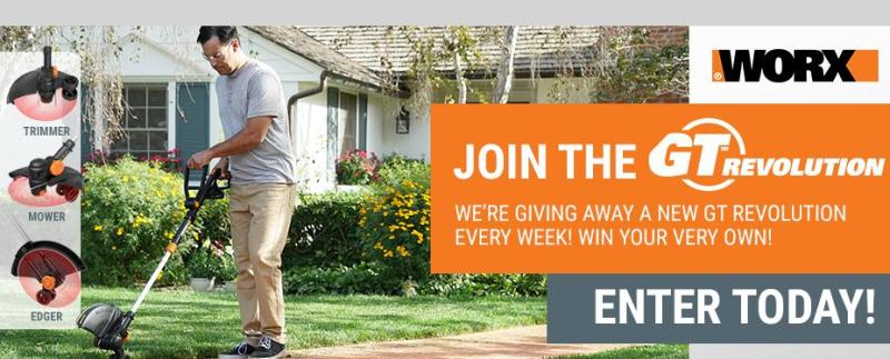 2018 WORX GT Revolution Weekly Giveaway – Win Chance ONE WORX GT Revolution 20V 12 String Trimmer