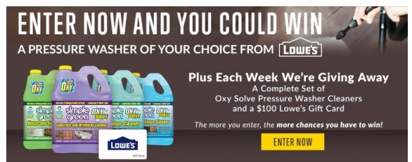 Simple Green's Oxy Solve Pressure Washer Cleaner Sweepstakes - Chance To Win Gift Card, Prize Pack And Weekly Prizes