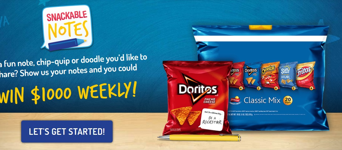 Frito Lay Snackable Notes Sweepstakes - Chance To Win $1000 Weekly