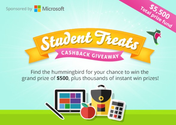 Microsoft Student Treats Cashback Giveaway - Enter To Win $500 And Instant Win Prizes
